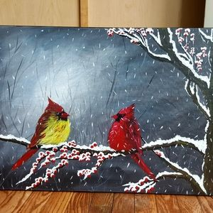 Other - 24x18 inches Cardinals acrylic painting